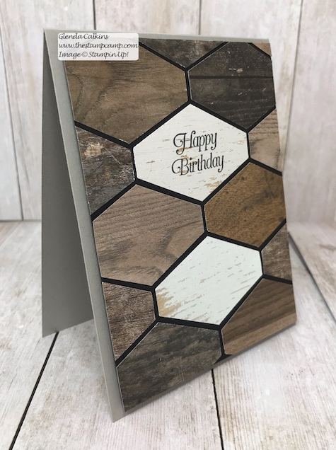 Faux Wood Tile look created using the Tailored Tag Punch from Stampin' Up! Details on my blog: www.thestampcamp.com #stampinup #punches #thestampcamp #masculine