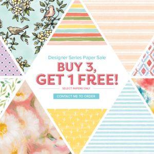 September Special purchase 3 packs of Designer Series Paper and get 1 free. Details on my blog here: https://wp.me/p59VWq-amE #stampinup #designerpaper #thestampcamp #paper