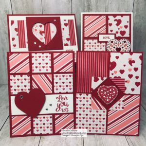 My Heartfelt Bundle Class Option #1 gives you the stamp set; Specialty Designer Series Paper, PDF file, Cut card stock to create 4 cards with envelopes. Details on my blog here: https://wp.me/p59VWq-aFR #stampinup #Valentines #thestampcamp #sketches
