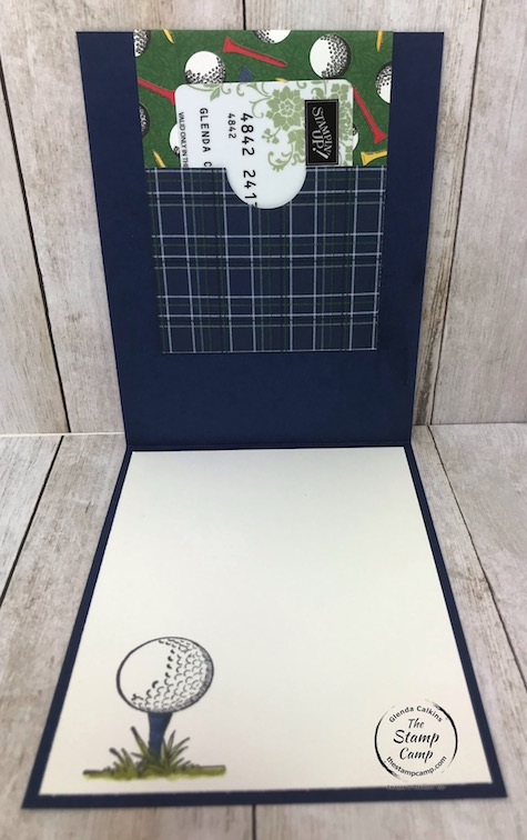 The Clubhouse stamp set and coordinating Country Club Designer Series Paper are perfect for cards for birthday's or Father's Day. Details can be found on my blog here: https://wp.me/p59VWq-aXH . #stampinup #thestampcamp #golf #giftcardholder