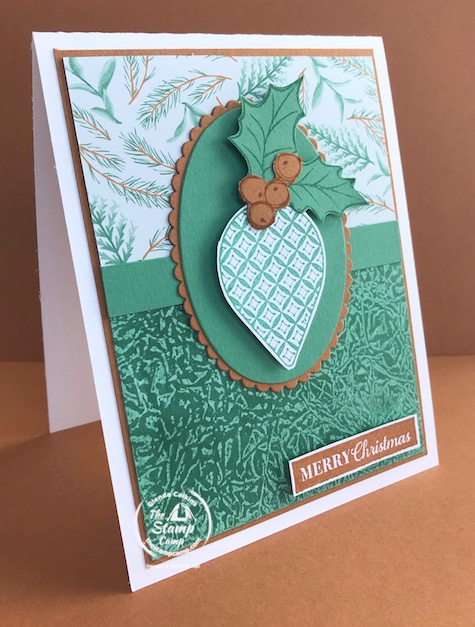 What fun technique do you see on this card? The technique I used on this card is an oldie but a goodie! I'm on a mini vacation and have limited supplies so had to look around my kitchen for something to use to create a background. Have you figured it out? See my blog post here for details: https://wp.me/p59VWq-bm9. #stampinup #technique #thestampcamp #christmas