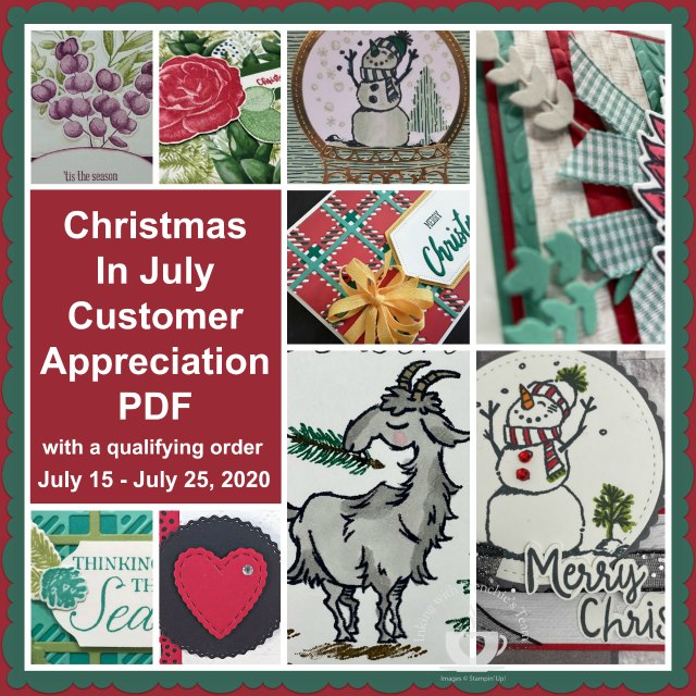Christmas in July PDF file is free with a min. $25.00 order and the use of the current hostess code found on my blog www.thestampcamp.com. You will love these projects and it will help you to get a jump start on your Christmas cards for this year. #christmas #Stampinup #thestampcamp