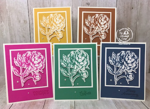 These are the New 2020-2022 In Colors from Stampin' Up! This group of new In Colors go together so well; I love the vibrant colors. I paired this month's In Color Club Member cards with the Prized Peony stamp set; which is my featured stamp set for July 2020. I also have a great Tip to share regarding dies and framelits. Details are on my blog here: https://wp.me/p59VWq-bl9. #stampinup #dies #prizedpeony #thestampcamp
