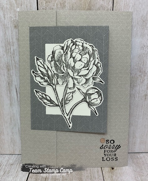 This is the Prized Peony Bundle and the Peony Garden Designer Series Paper from Stampin' Up!  This card was created by my fellow team member Judy for a team swap.  I think she did a fabulous job and you can find the details on my blog here: https://wp.me/p59VWq-bnl. #stampinup #thestampcamp #prizedpeony