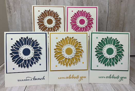 My featured stamp set for August is the Celebrate Sunflowers Bundle.  These 5 cards are the In Colors for 2020 - 2022 and I created these for my In Color Club Members.  Each month they receive 5 In Color Cards from me with a package of In Color Products.  Details are on my blog here: https://wp.me/p59VWq-bpa.  #stampinup #incolors #thestampcamp