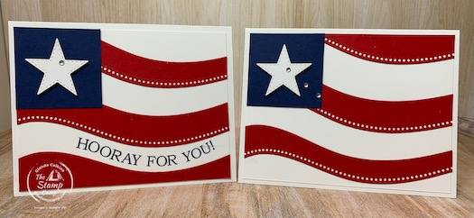 The Quite Curvy Bundle is perfect stamp set/bundle to create ALL your patriot cards. What's also nice is this is a twofer technique. What do I mean? You will create both of these cards out of 1 piece of Real Red card stock. Check out my blog for all the details. #stampinup #thestampcamp #quitecurvybundle