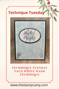 Have you ever tried the Faux White Wash Technique?  This is what I'm calling this technique.  I'm sure there are other names out there but when I completed this technique it reminded me of a white wash so that's what I'm going with. I paired the Winter Snow embossing folder with the Stampin 'Up! For Unto Us stamp set. #thestampcamp #stampinup #technique