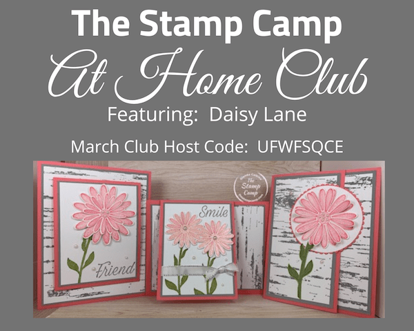 March Stamp Camp At Home Club Kit features the Daisy Lane stamp set and the Daisy Punches; plus the Birch Background stamp. Each card is a different fun fold and the kit contains all the cut card stock needed to create the cards. #thestampcamp #stampinup #cardkit