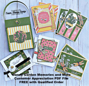 The April Customer Appreciation PDF file features the Dandy Garden Memory and More Card Pack. You will create a beautiful purse with coordinating cards. A great gift for anyone. #thestampcamp #stampinup #handmadegift
