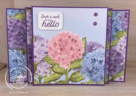 "Fun Fold Friday - Today's fun fold card is what I like to call a Scenic Panel Accordion fun fold card. This fun fold works best with a 12"" piece of designer paper as I like to spread out the scene across the front of the card. On this card I did use 2 different prints from the Hydrangea Hill Designer Series Paper but I did think the scene still flowed throughout the card. #thestampcamp #stampinup #funfold"