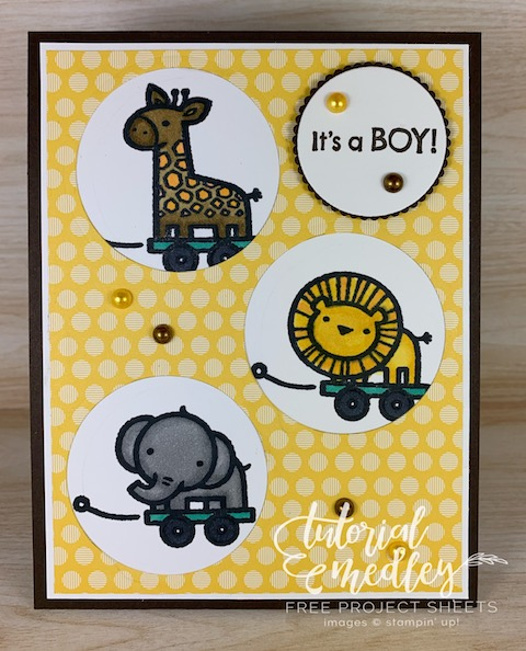 The Baby Pull Toys stamp set from Stampin' Up! is perfect for baby cards, scrapbook pages, baby announcements or baby showers. These little animals as so adorable and cute you I couldn't resist creating little peek a boo windows for them. #thestampcamp #stampinup #babycard