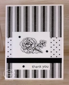 Who doesn't love a black and white card? I love the True Love Designer Series Papers because you can leave them Black and White or you can use different mediums to color them in and make them any color you want. #thestampcamp #stampinup #truelove